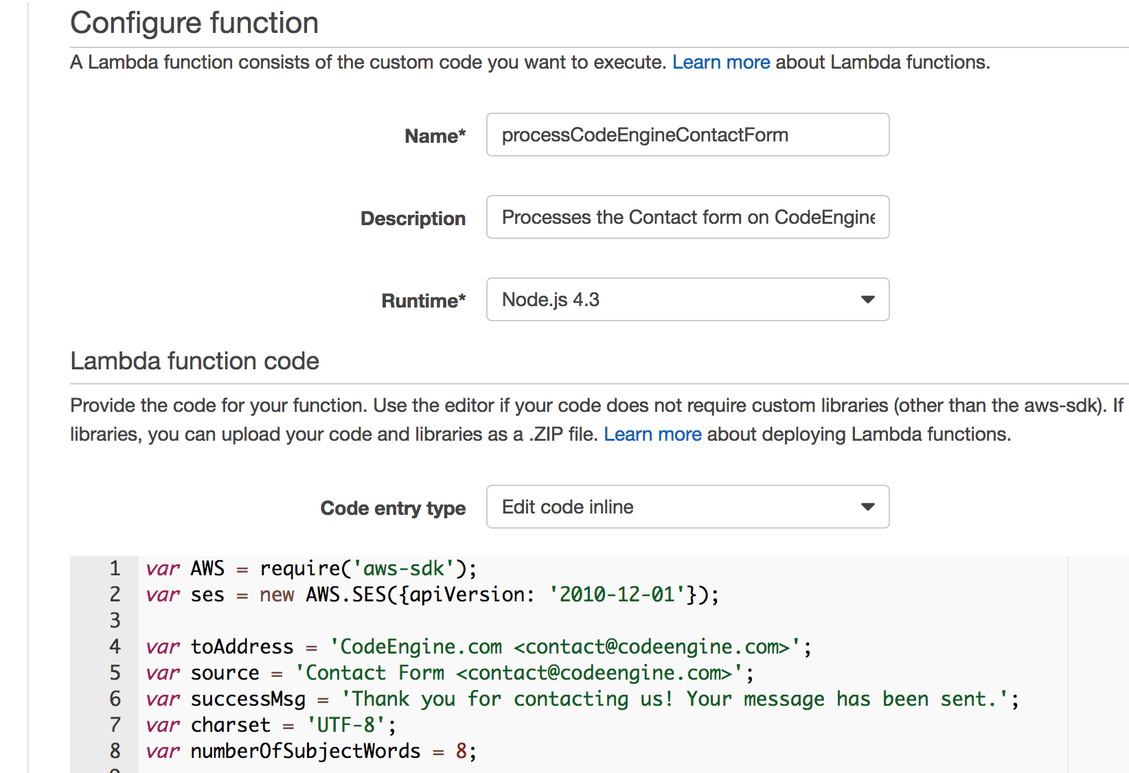 Processing A Contact Form Using AWS Cloudfront, API Gateway, Lambda