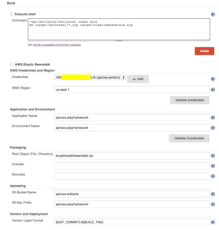 Example of configuring AWS Elastic Beanstalk build step for jenkins